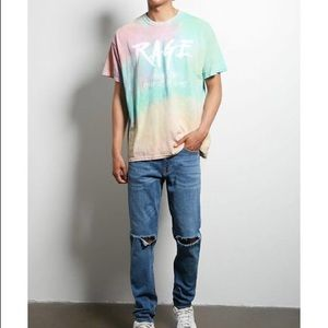 Forever 21 Men's Human Condition Tie Dye Tee Rage